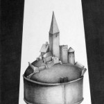 Let There Be Light, charcoal on paper, 47.5 x 20.25 inches