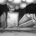 Oil Tanker Series VI, charcoal on paper, 48.25 x 22 inches