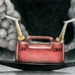 Oil Tanker Series I, charcoal and pastel on paper, 48 x 28 inches