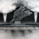 Oil Tanker Series V, charcoal on paper, 48 x 28 inches